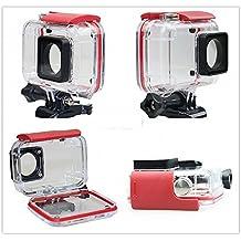JZK® 45m bajo el agua Funda impermeable cubierta carcasa waterproof con tornillo y adaptador roscado para Xiaomi Yi 4k cámara (rojo para Yi 4k)