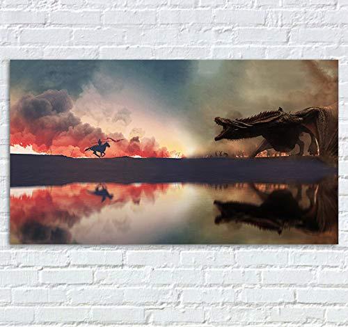 Game of Thrones Leinwand Poster TV Show Jubiläum Drucke Kunst Dragon Dracarys Fire War Staffel 7 8 Bild Große Abstrakte Poster 40x70cm Ohne Rahmen (Dragon Tv-show)