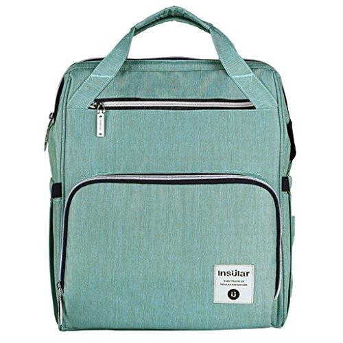 Baby Wickeltasche Reise Rucksack,Isolierte Tasche, Wasserdicht Stoffe, Multifunktional, Passform für Kinderwage, Große Kapazität Modern Einzigartig Tragbar Handtasche Organizer - Grün