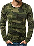 OZONEE Herren Longsleeve Langarmshirt Sweatshirt Motiv Modern Täglichen Sport Camouflage Tarnmuster Aufdruck Print 777/817L GRÜN-CAMO M