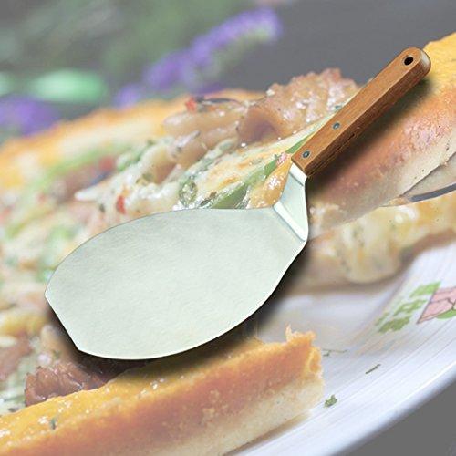 Spachtel Pizza-ofen (Pizza Peel–Pizza Paddle Pfannenwender Edelstahl rund Pizza Schaufel Kunststoff Griff Pizza Peel zum Backen Homemade Pizza und Brot–Ofen oder Grill Verwenden 32*16.5*1.2cm braun)