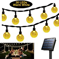 Solar String Light, Globe Lights Warm White Fairy Light, Outdoor Waterproof Lamp for Indoor, Garden, Patio, Home, Wedding, Christmas Tree, Festival (30 LEDs)