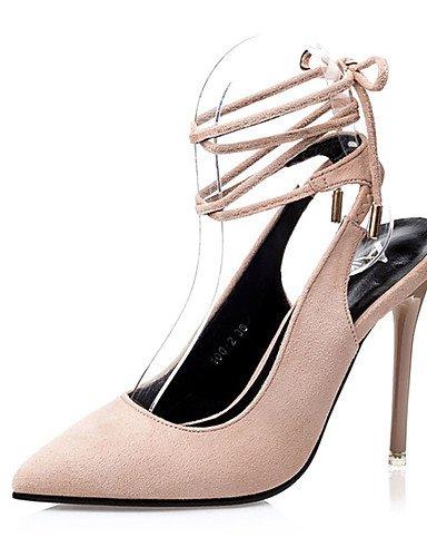 WSS 2016 Chaussures Femme-Décontracté-Noir / Vert / Gris / Beige / Orange-Gros Talon-Talons-Talons-Laine synthétique beige-us5 / eu35 / uk3 / cn34