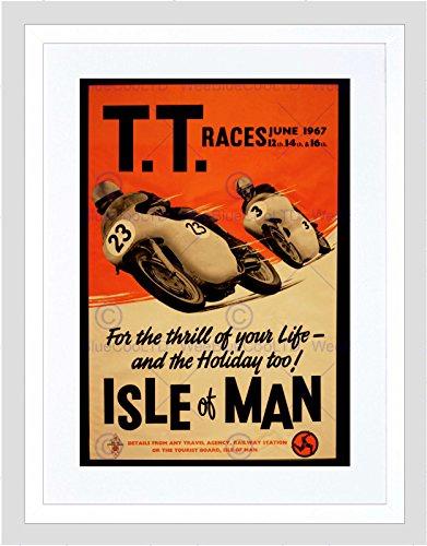 Preisvergleich Produktbild AD TRANSPORT TT RACES BIKES ISLE OF MAN 1967 FRAMED PRINT B12X10466