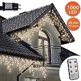 Eiszapfen Lichterketten 1000 LED lichterkette außen mit Fernbedienung, Warm Weiße Baum Lichter, Länge 35,5m, GS Geprüft, Optional mit 8 Leuchtmodi/Memory/ Timer, Klare Kabel - 2 Jahre Garantie