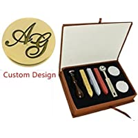 mdlg Vintage Custom Made Dos Letras imagen Logo de invitación para boda personalizada con sello de cera de sellado sello de cuchara de juego de caja de regalo