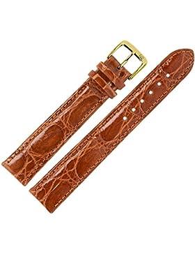 Uhrenarmband 20 mm Leder braun XL, glänzend, Prägung, Kroko (echt Krokodil) mit IRV Artenschutzfahne - MADE IN...