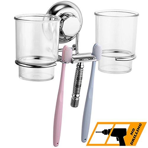 MaxHold Saugschraube Zahnbürste Becherhalter mit 2 Zahnputzbechern, Befestigen ohne Bohren – Edelstahl rostfrei – Küchen & Badezimmer Aufbewahrung