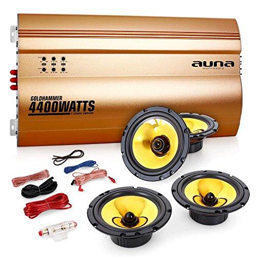 Auna 4.0 Car Hifi Set Golden Race V4 Autolautsprecher Set mit Endstufe (2 Einbaulautsprecher Paare 13 & 16,5cm, inkl. Kabelset, 4400W Verstärker) gold