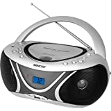 Sencor SPT 227 S tragbares Radio mit CD/MP3-Player (AM/FM-Stereo Receiver, LCD-Display, 2x 1,2 Watt, 3,5mm Klinke, USB) silber