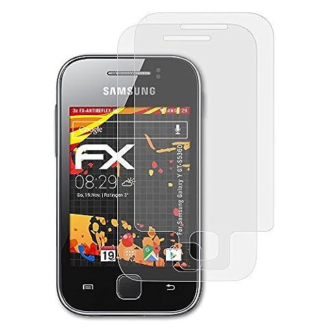 Samsung Galaxy Y (GT-S5360) Displayschutzfolie - 3er Set atFoliX FX-Antireflex-HD hochauflösende entspiegelnde Schutzfolie Folie