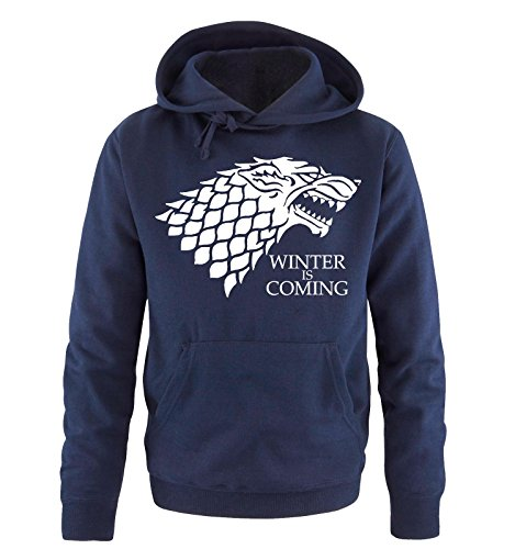 Comedy Shirts - Winter is Coming - Deluxe - Uomo Hoodie cappuccio sweater -...