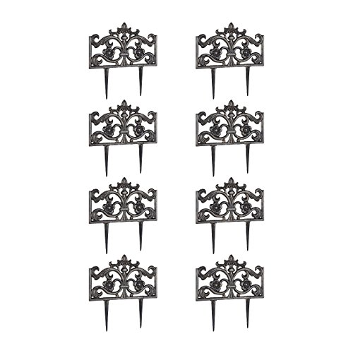 Relaxdays 8er Set Beetzaun Gusseisen, mit Erdspieß, Einfaches Stecksystem, Zierzaun, nostalgisch, H x B x T 37 x 36 x 2 cm, Bronze