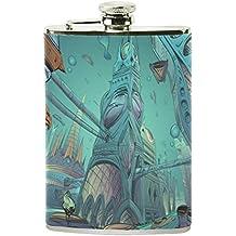 Jeansame - Botellas personalizadas de acero inoxidable para hombre y mujer, diseño del océano y
