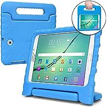 Funda para Samsung Galaxy Tab S2 9.7, [Asa de gran tamaño 2 en 1: para llevar y como soporte] La funda COOPER DYNAMO para niños extra resistente a prueba de caídas fabricada en EVA con asa, soporte y protector de pantalla – Niños, niñas, adultos, mayores Azul