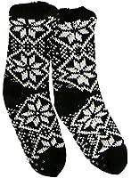 SCHWARZ L Hüttensocken gefüttert mit ABS Kuschelsocken Haussocken Socken gefüttert Teddysocken Norweger
