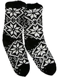 SCHWARZ M Hüttensocken gefüttert mit ABS Kuschelsocken Haussocken Socken MTTeddysocken Norweger