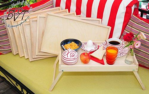 Picknickbrettchen im Set, 8 massive und hochwertige Betttabletts aus Buche - SPÜLMASCHINENFEST '*' holz, natur, Beistelltisch, Knietisch mit zwei Tragegriffen, Maße viereckig, 35 cm x 50 cm x 20 cm, nutzbar als Frühstückstablett oder Serviertablett, Picknick Grill-Set