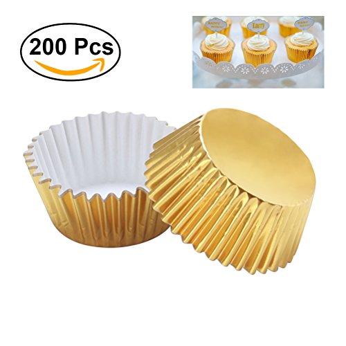 ounona 200Stück Verdickte Aluminium Folie Cupcake Liners Mini Kuchen Muffin Formen zum Backen (Light Golden)