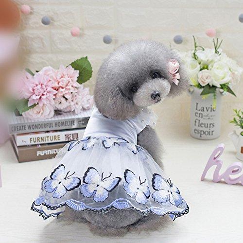 Etopfashion Hund Katze Kleid Welpen Prinzessin Stil Blume Netz Tüll Tutu Kleider Ballettmusik Hochzeit Rock PET Frühling Sommer Kleidung Kleidung Kostüm (Hundegeschirr Kleidung)