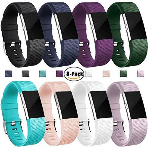 Für Fitbit Charge 2 Armband, HUMENN Charge 2 Armband Weiches Silikon Sports Ersetzerband Fitness Verstellbares Uhrenarmband für Fitbit Charge2 Large # 8Pack (Leder Pflaume)