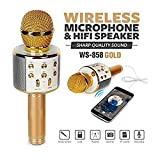 Fashions Store WS-858 Wireless Bluetooth Microphone Recording Condenser Handheld Microphone Stand with Bluetooth Speaker Audio Recording Compatible with All Android and iOS Devices {Assorted Colour}