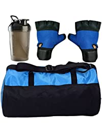 CP Bigbasket Combo Set Polyester Blue Sport Gym Duffle Bag Shoe Compartmen, Gym Shaker (400 Ml), Netted Gym &...