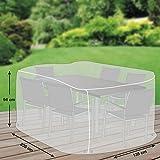 Klassik Schutzhülle für Sitzgruppe rechteckig aus PE-Bändchengewebe - transparent - von mehr Garten - Größe L (235 x 135 cm)