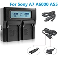 Fomito LCD Screen Dual Digital Battery Charger For Sony A7 A7R A6000 A7S (Digital Camera Battery Charger)