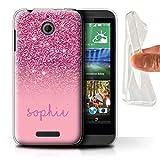 Stuff4 Personnalisé Effet Paillettes Coutume Coque Gel/TPU pour HTC Desire 510/Rose Design/Initiales/Nom/Texte Etui/Housse/Case