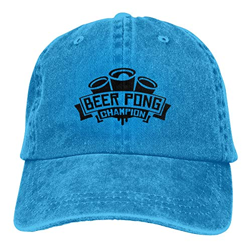 Champ Fitted T-shirt (Funny Club Unisex Vintage Washed Baseball Cap Beer Pong Champ Plain Cotton Adjustable for Men Women)