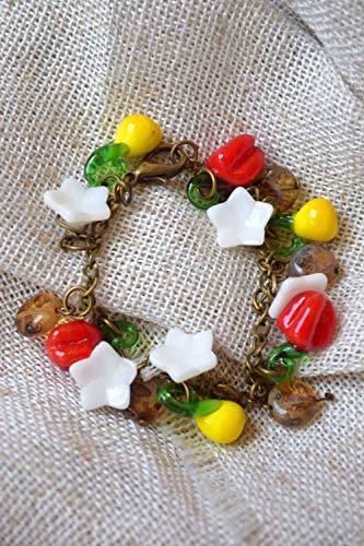 Bulgarische Pfefferfrucht Glas perlen armband vegan Geschenk Paprika (Perlen Paprika)