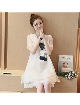 Elegante falda Coreano de verano,M,blanco suelto