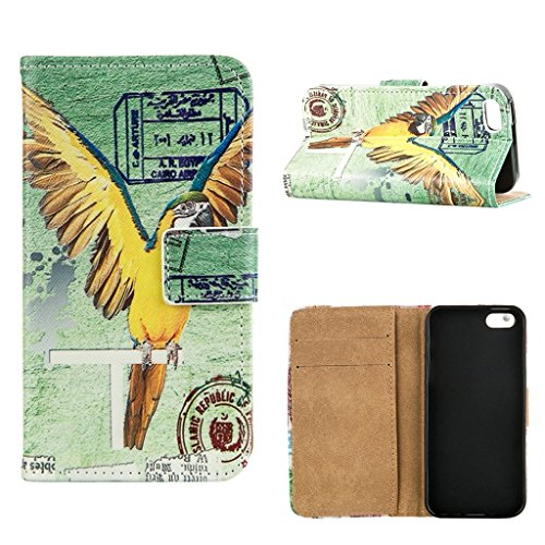 hyait® Case for Apple iPhone 5G/5S Flip Leather Wallet With Card Holder and Kickstand Case Cover RX30 RX03