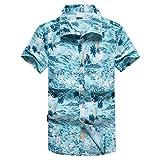 Herren Hawaiihemd Mode Party Kurzes T-Shirt Sports Beach Schnell trockene Bluse Top (A_ b,EU 44/CN M