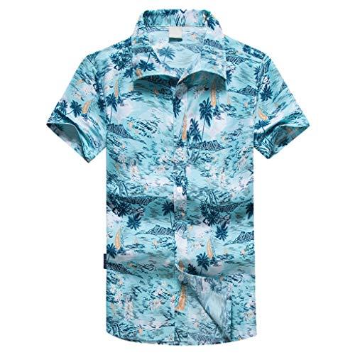 MAYOGO Oversize Hawaii Hemd Männer Kurzarm Lose Feiertags Lässige Hawaiian Shirt for Men,Übergroße Herren Hawaiihemd Kostüm Oberteile Tops Palmen Beach ()