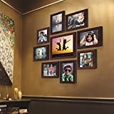 AJANTA ROYAL Synthetic Wood Individual Photo Frames - Set of 9(6-5x7-inch, 2-5x5-inch, 1-8x10-Inch, Brown)