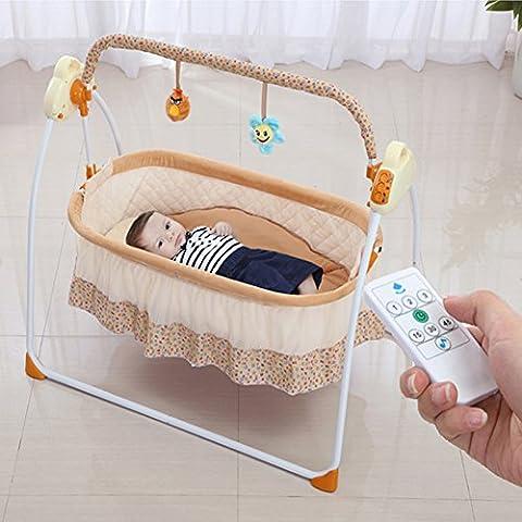 Multifuntion elektrische Babyschaukel Babybett Automatische Baby Wiege MP3-Player Fermbedinung Batterie und USB Schnittstelle und USB Ladungkabel (ohne Externer Akku)
