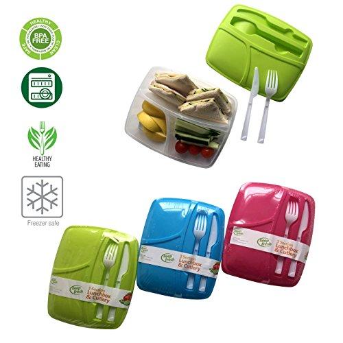 Lunch Box Keepfresh BPA-Frei 3er Brotdose und Besteck Set mit Trennwand Wiederverwendbar Salatschüssel Spülmaschinenfest Mikrowellengeeignet fur Erwachsenen und Kinder (Bleu)