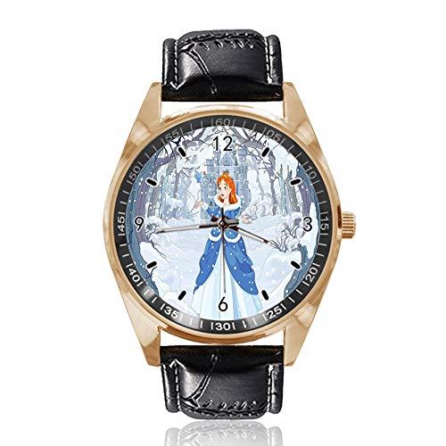 Armbanduhr Prinzessin mit Vogel im Winterwald, individuelles Design, analog, Quarz, goldfarbenes Zifferblatt, klassisches Lederband für Damen und Herren -