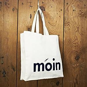 Einkaufstasche/Shopper/Schultertasche Design Moin - Baumwolle blau-weisser Druck