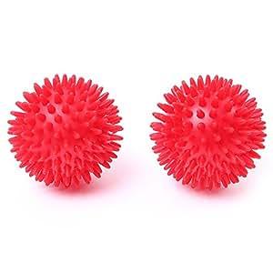 66fit Spiky 8cm Hard Massage Balls x 2pcs - Trigger Point Reflexology Stress Release