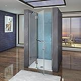 Cabine doccia 100x190cm Per Nicchia Porta Battente Interno Esterno Con Barra Stabilizzatrice Angolo Cristallo Trasparente Con porta-asciugamano