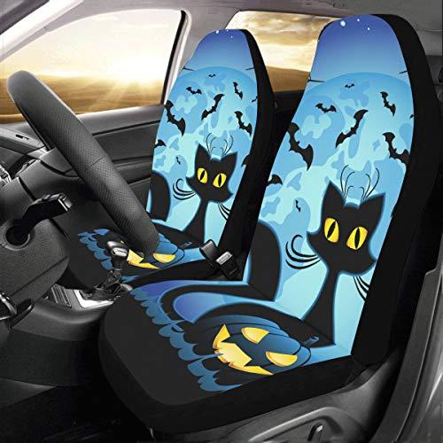 e Katze Mit Kürbis Benutzerdefinierte Universal Fit Auto Drive Autositzbezüge Protector Für Frauen Automobil Jeep LKW SUV Fahrzeug Full Set Zubehör Für Erwachsene Baby (Set Von 2) ()
