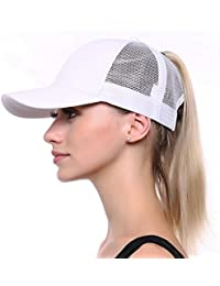 50f5e41d1844 JAKY Global Ponytail Cap Messy Trucker Ponytail Adjustable Visor Mesh Baseball  Cap Hat Unisex