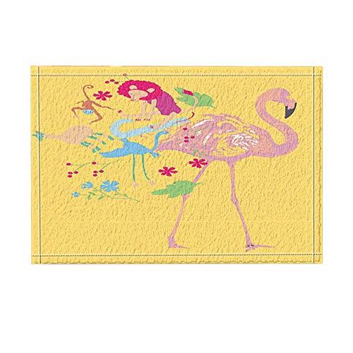 JoneAJ Tropische Tier Dekor Flamingo Lion Alpaka und AFFE Bad Teppiche für Badezimmer rutschfeste Boden Eingänge Outdoor Indoor Haustür Matte Kinder Badematte 15,7 x 23,6 in gelb Pink (Affe Badezimmer-dekor Kids)