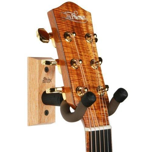 String Swing guitarra percha – Soporte para guitarras eléctricas y acústicas y bajos – Soporte accesorios hogar o estudio pared – Instrumentos musicales seguro sin estuche duro – madera sólida roble