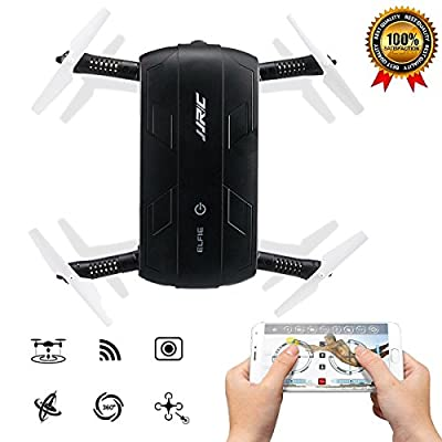 Pocket Selfie Drone Quadcopter, JJR/C H37 Elfie Pocket Fold Portable Photography Wifi FPV With 0.3MP Camera Phone Control RC Drones Quad copter RTF Helicopte (Black)