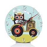 SKY ♥♥Estilo de la aldea no-tictac silenciado antiguo reloj de pared de madera para la oficina de cocina casera Redondo de madera de imitación reloj de pared del búho relojes pequeño dormitorio (F)