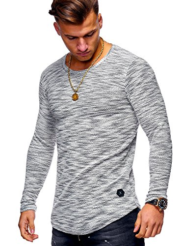 MT Styles Herren Pullover Oversize Feinstrick Sweatshirt MT-7312 [Grau, M]